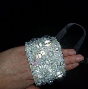 Beaded  silk wrap bracelet